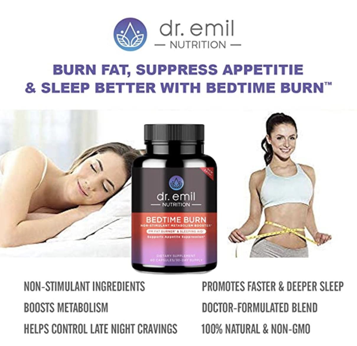 Infographic listing health benefits of Dr. Emil's Bedtime Burn