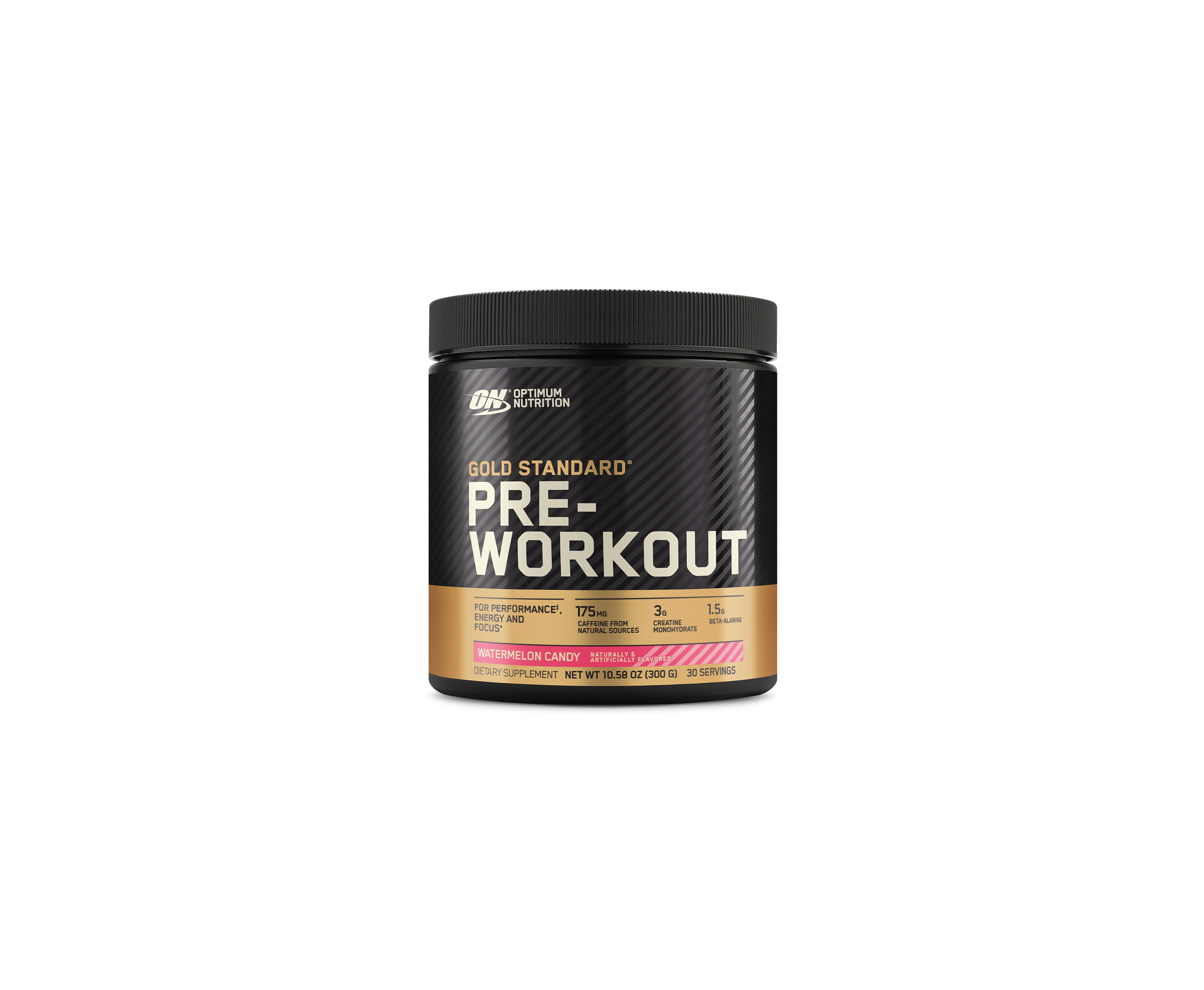 Optimum Nutrition's Gold Standard Pre Workout in Watermelon Candy flavor.