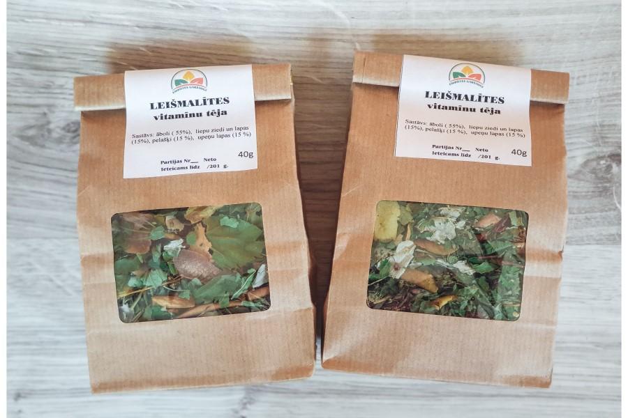 Leišmalītes vitamīnu tēja. Zāļu tēja - āboli, liepu ziedi un lapas , pelašķi, upeņu lapas. Leišmalītes sērijas produkts. Embūtes garšaugi.