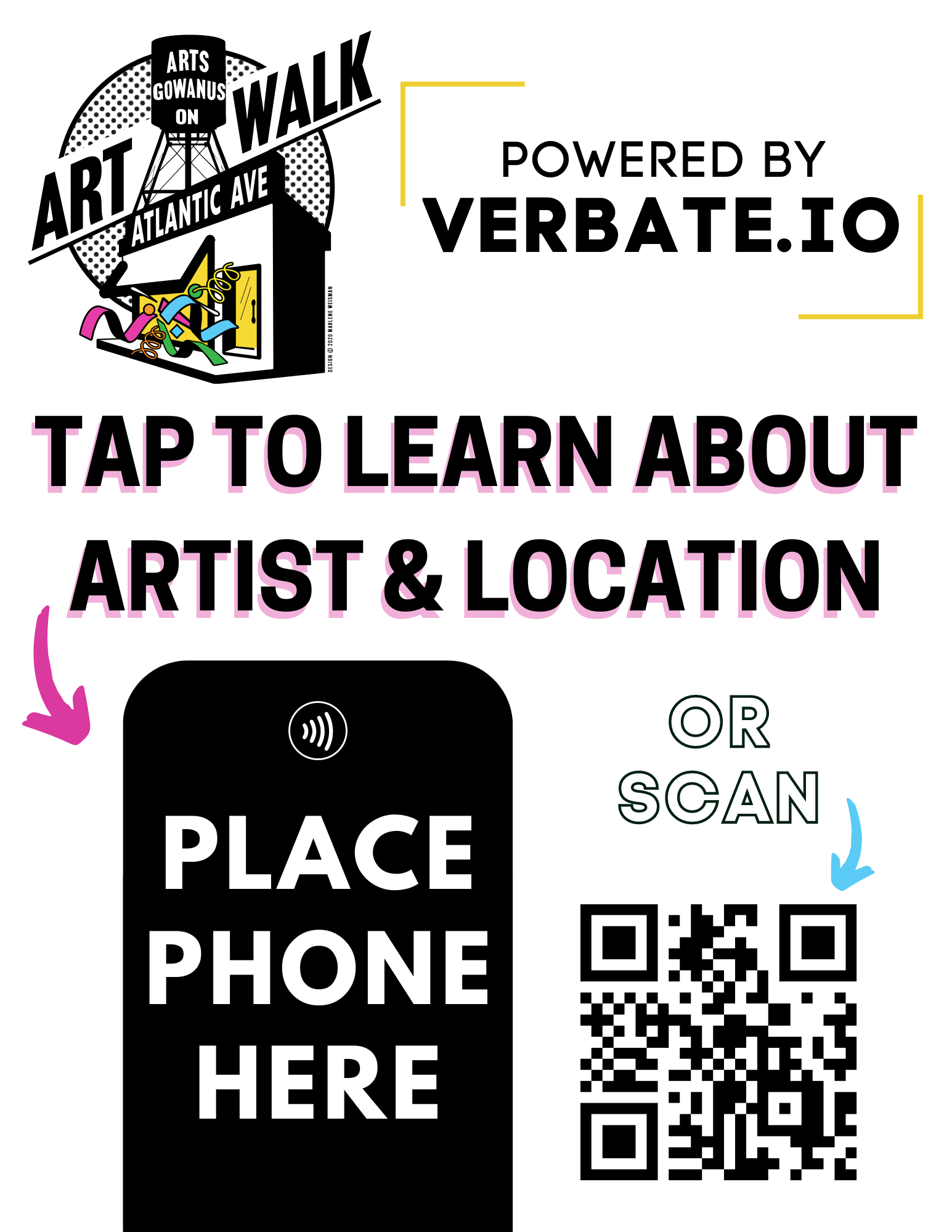 Verbate Tap or Scan Sign with QR Code