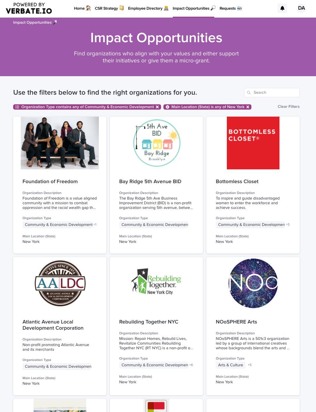 Verbate screenshot of community impact opportunities.