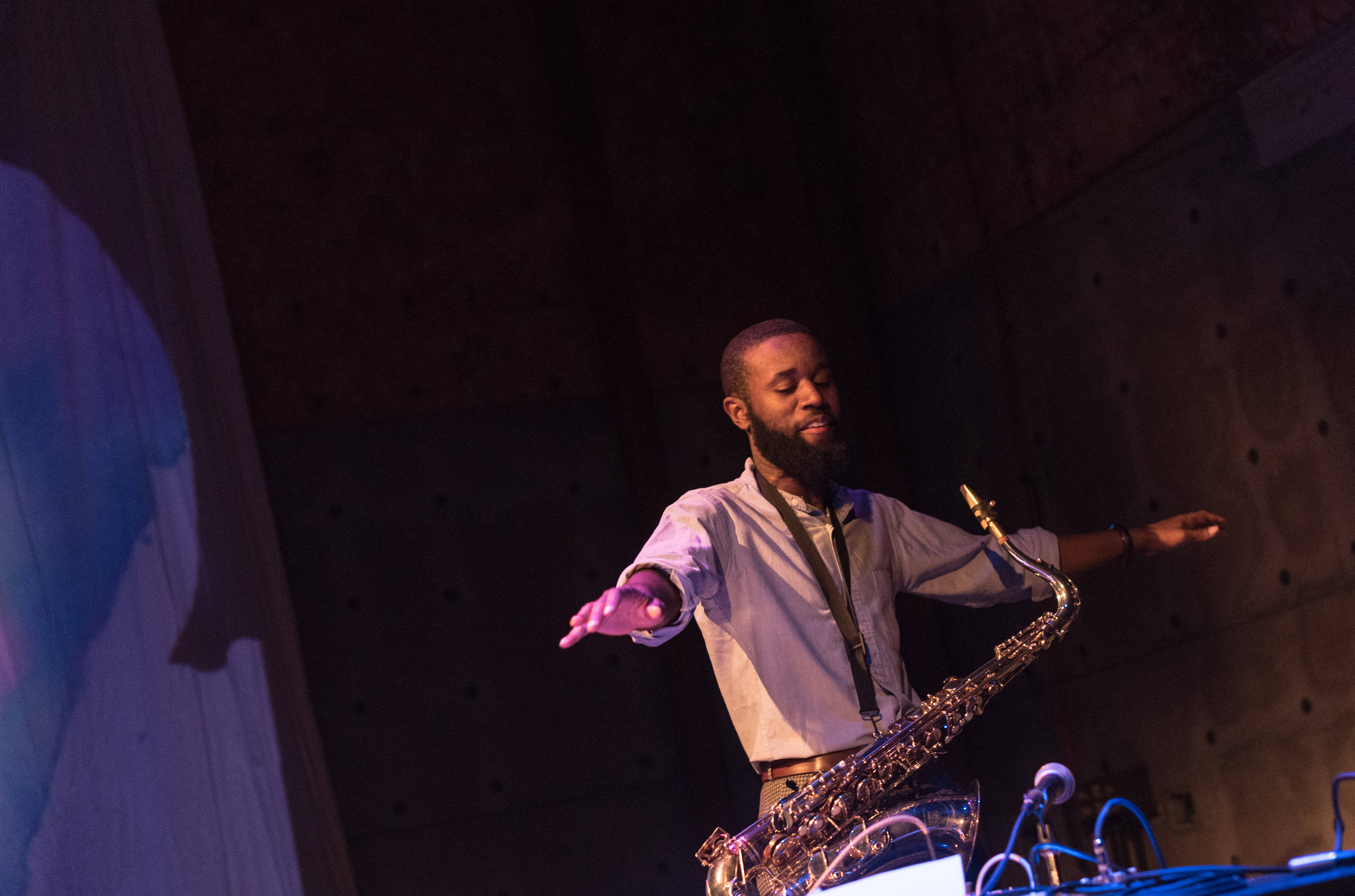 Jerome Ellis performing with saxophone performing