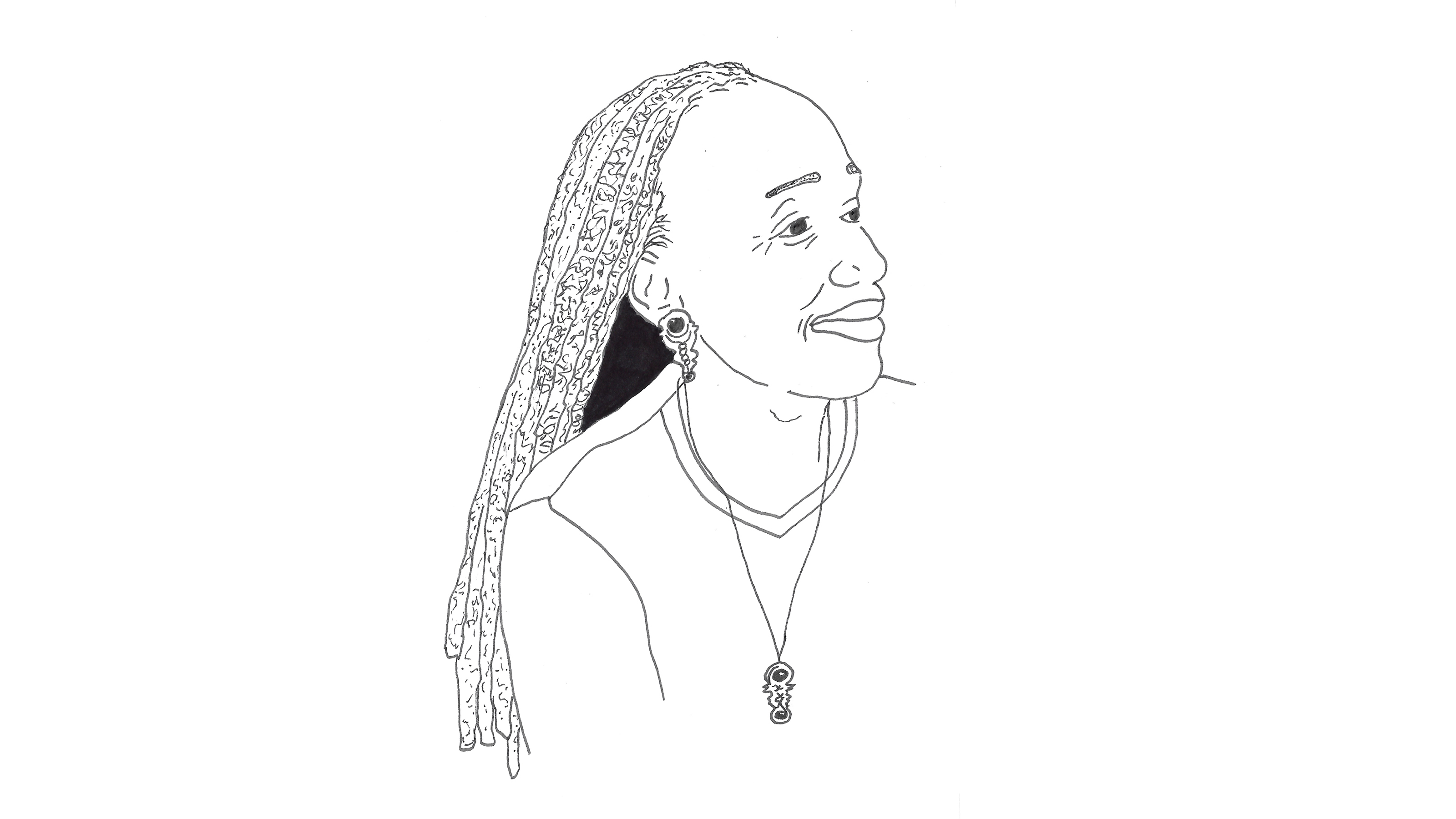 pencil drawing of an actor with long braids