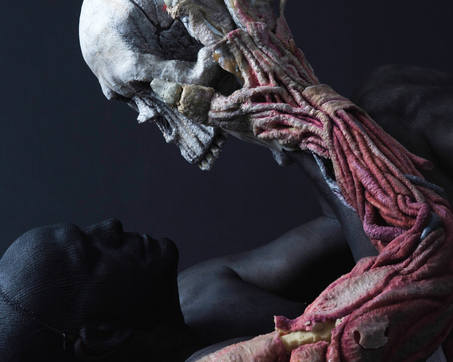 a puppeteer painted in black looks into a skull puppet that is held with a realistic arm with veins and arteries