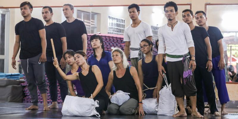 The Trojan Women Project rehearsing a scene in a studio in Cambodia
