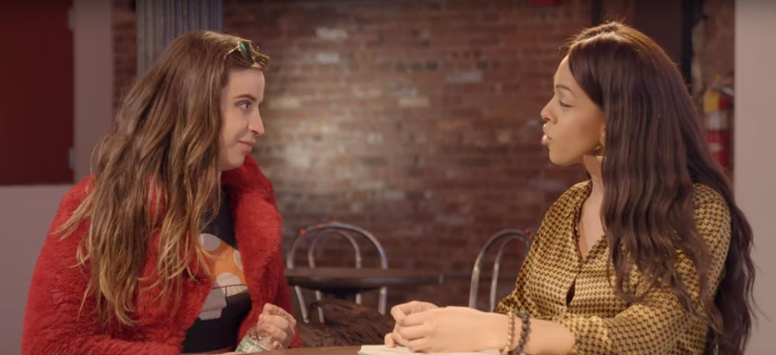 Charlene and Linda LaBeija sit at a table speaking for a La MaMa's Squirts interview