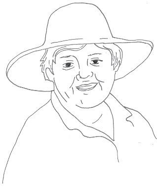 Pencil sketch drawing of a woman in a garden hat