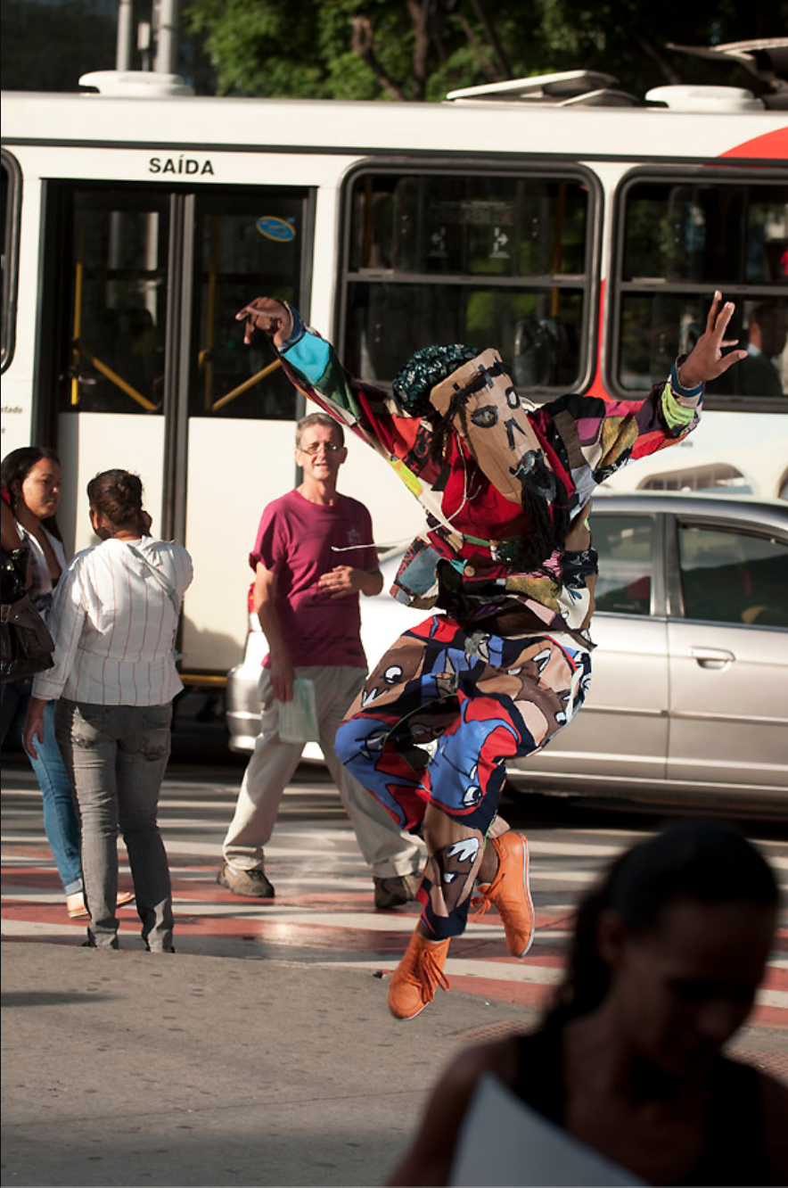 street performer jumping in the air