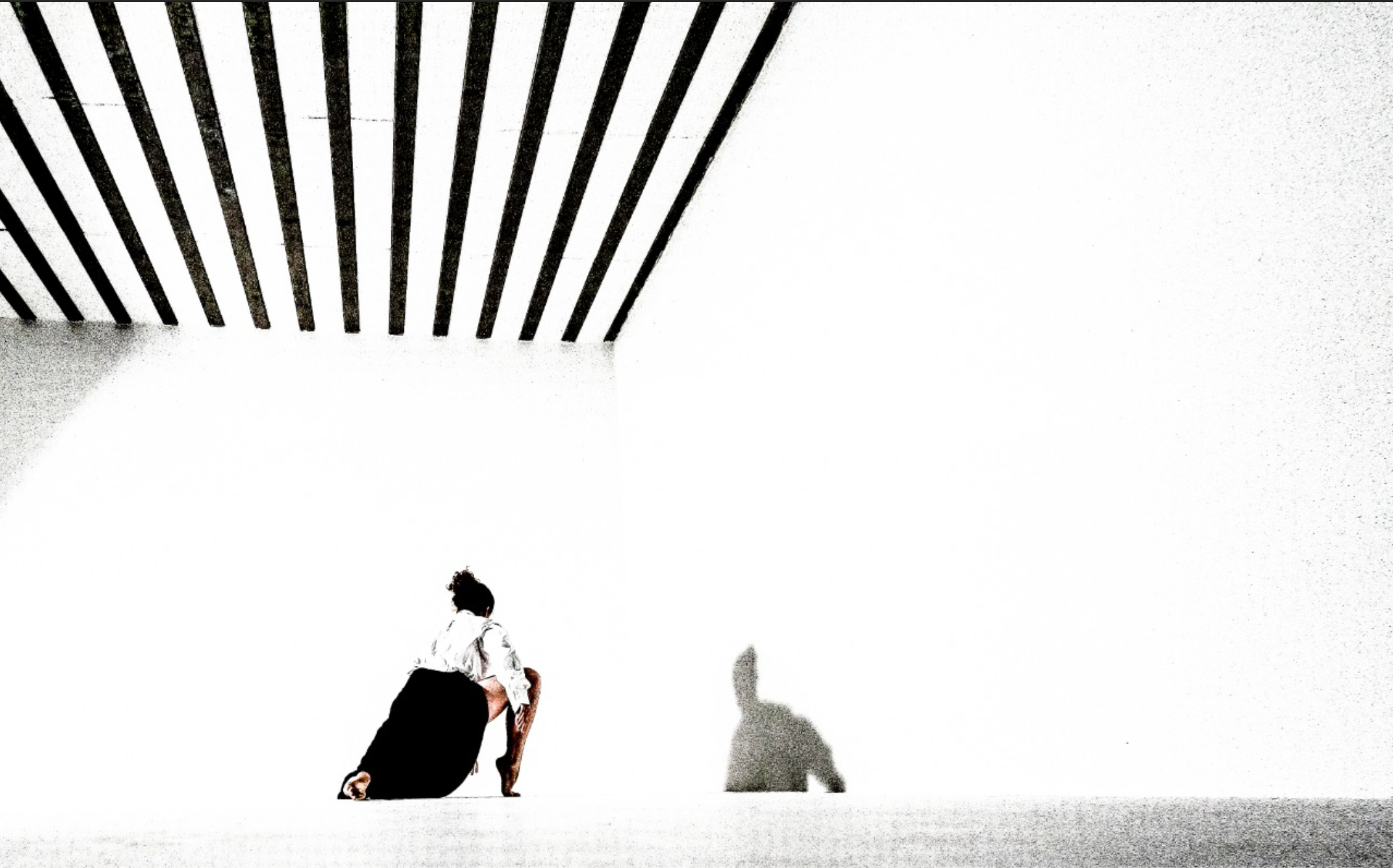 person crouching in front of their shadow on a white wall