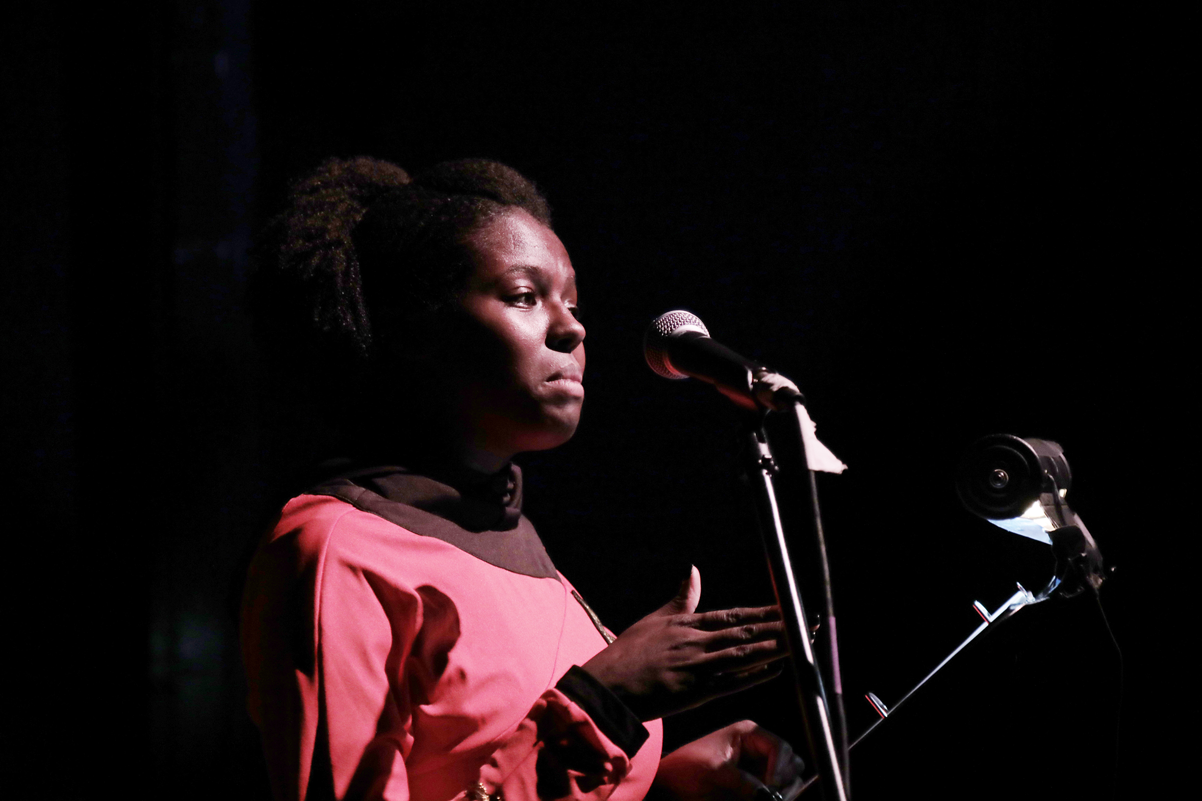 a performer standing at a microphone