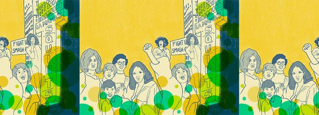 yellow drawing of people for la mama squirts
