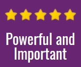"""Five gold stars above the text, """"powerful and important"""""""