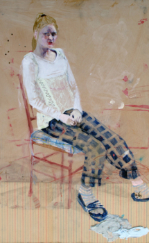 painting of a girl sitting on a chair