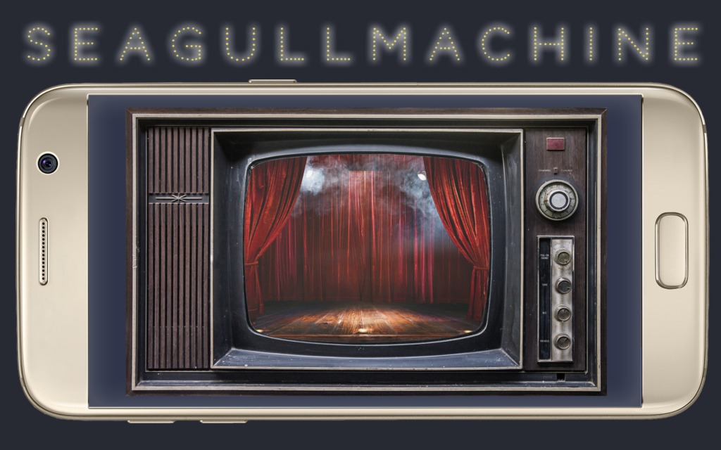 """a cellphone with a photo of an old TV. the text """"seagull machine"""" over it"""