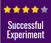 """four yellow stars over the text, """"successful experiment"""""""