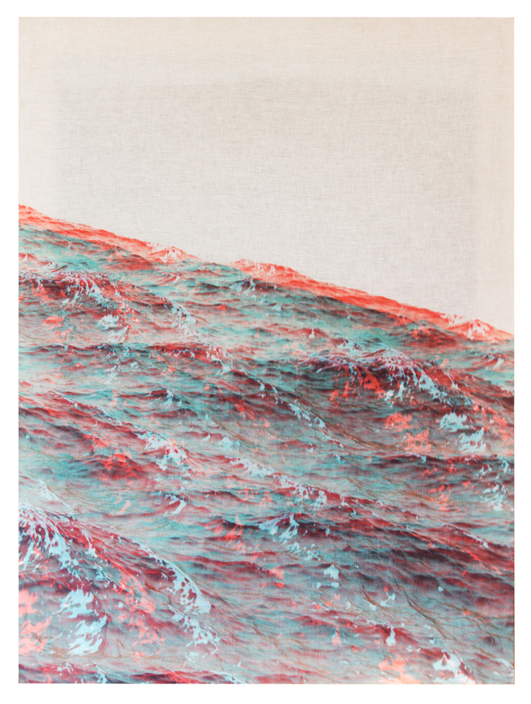 painting of a red and blue ocean
