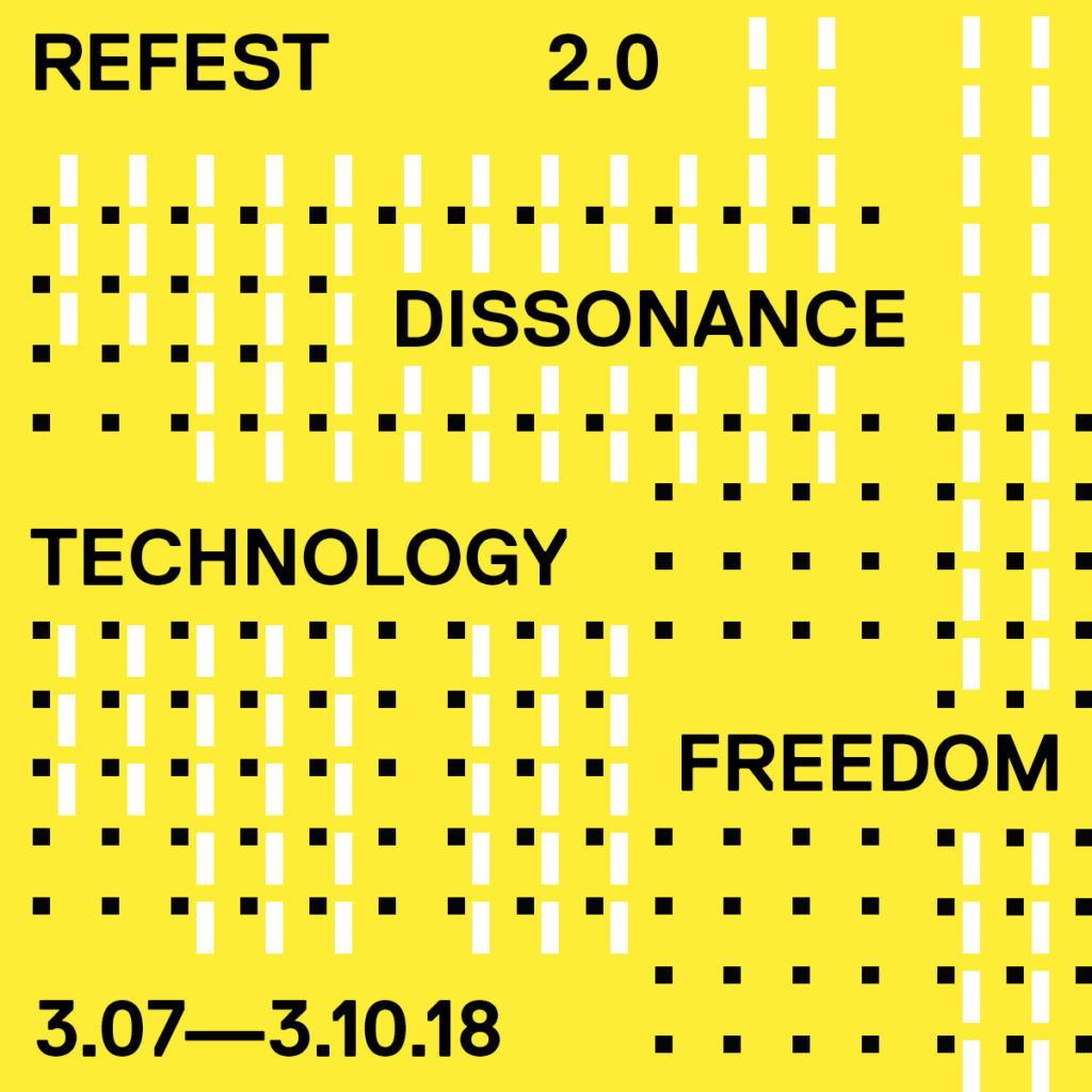 Yellow back ground with black and white dots on it.  information on the event in black text