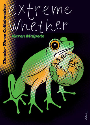 """cartoon frog with the title """"extreme whether"""" above"""