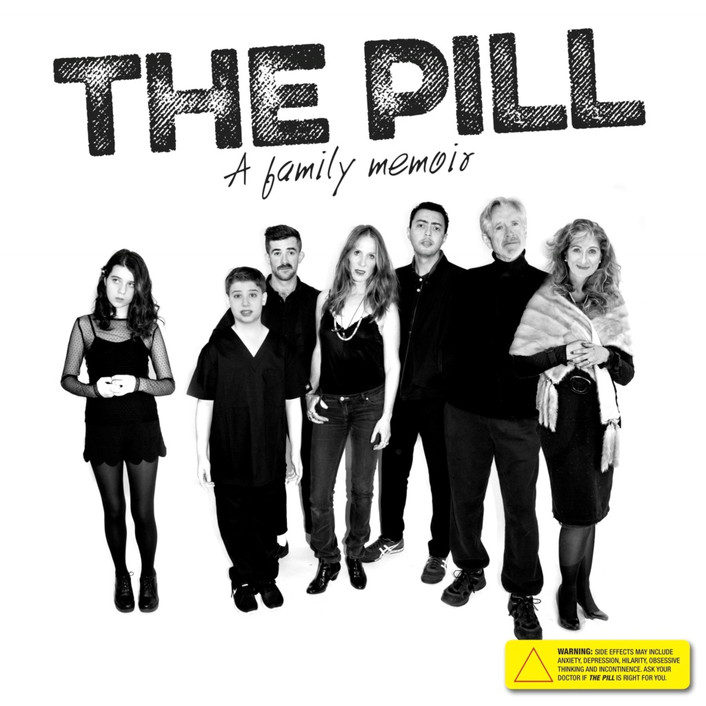 """black and white photo of the cast with """"the pill"""" written above"""
