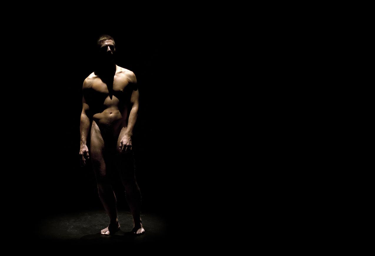solo performer in a spotlight