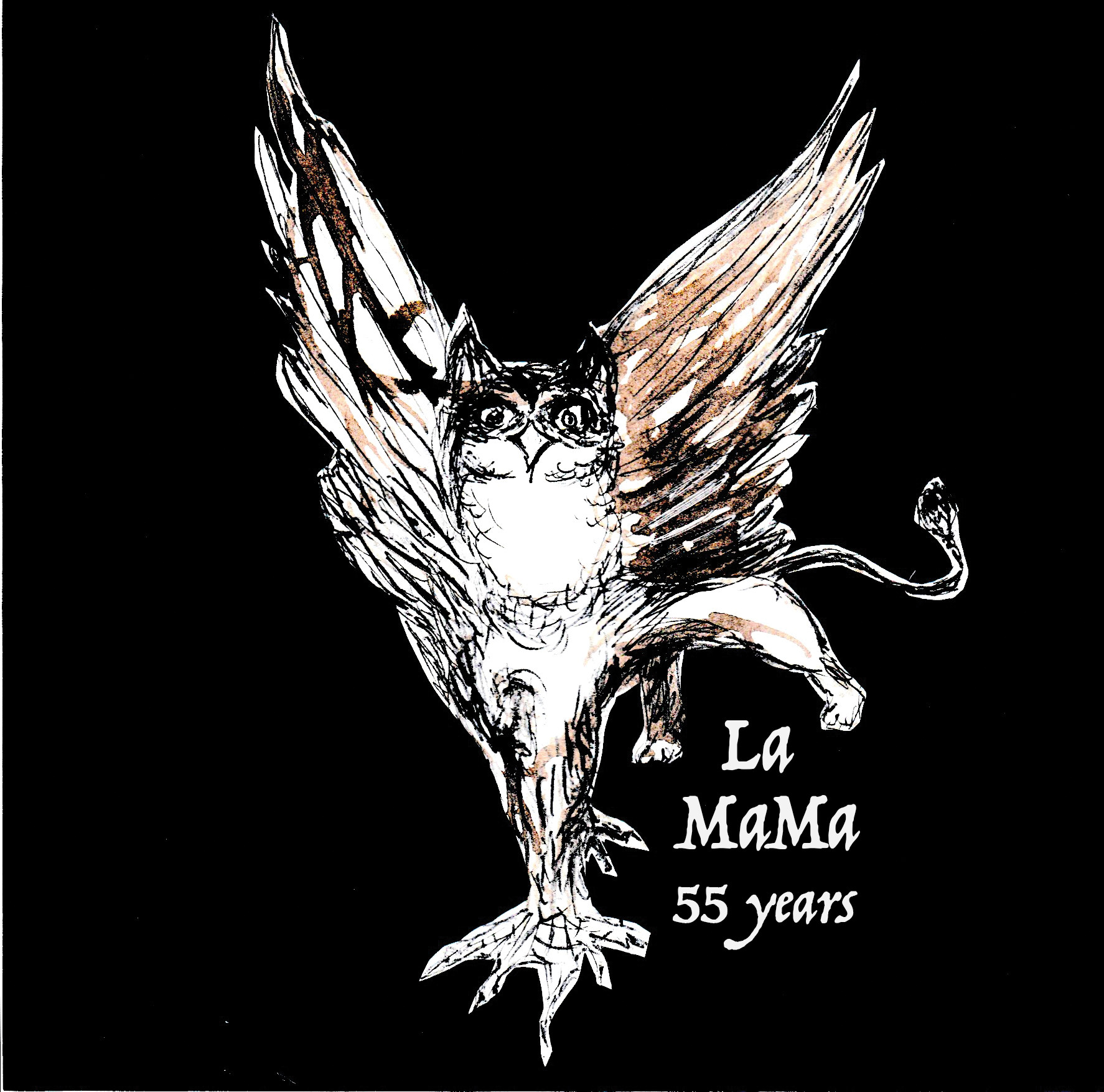 """drawing of a griffin that says """"la mama 55 years"""""""