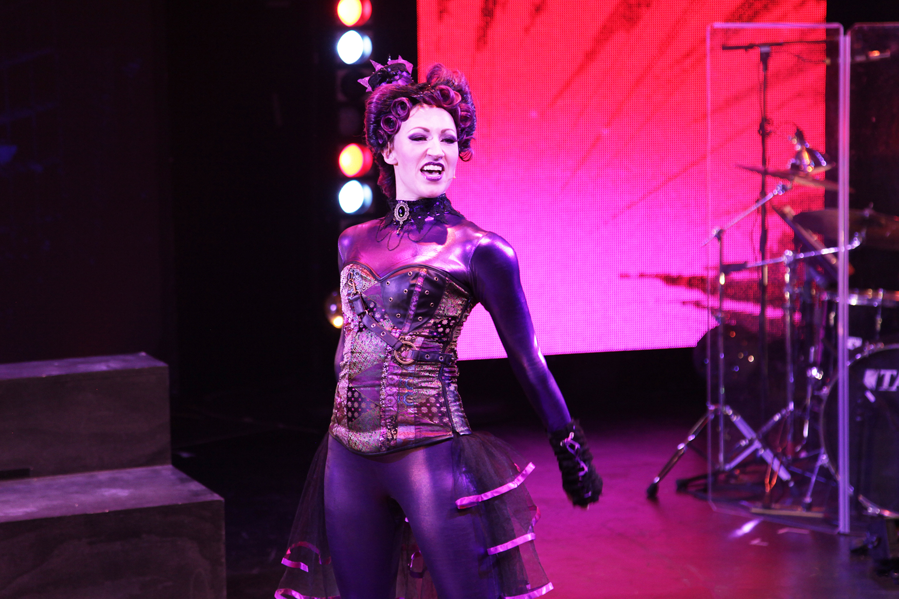 performer in black clothes