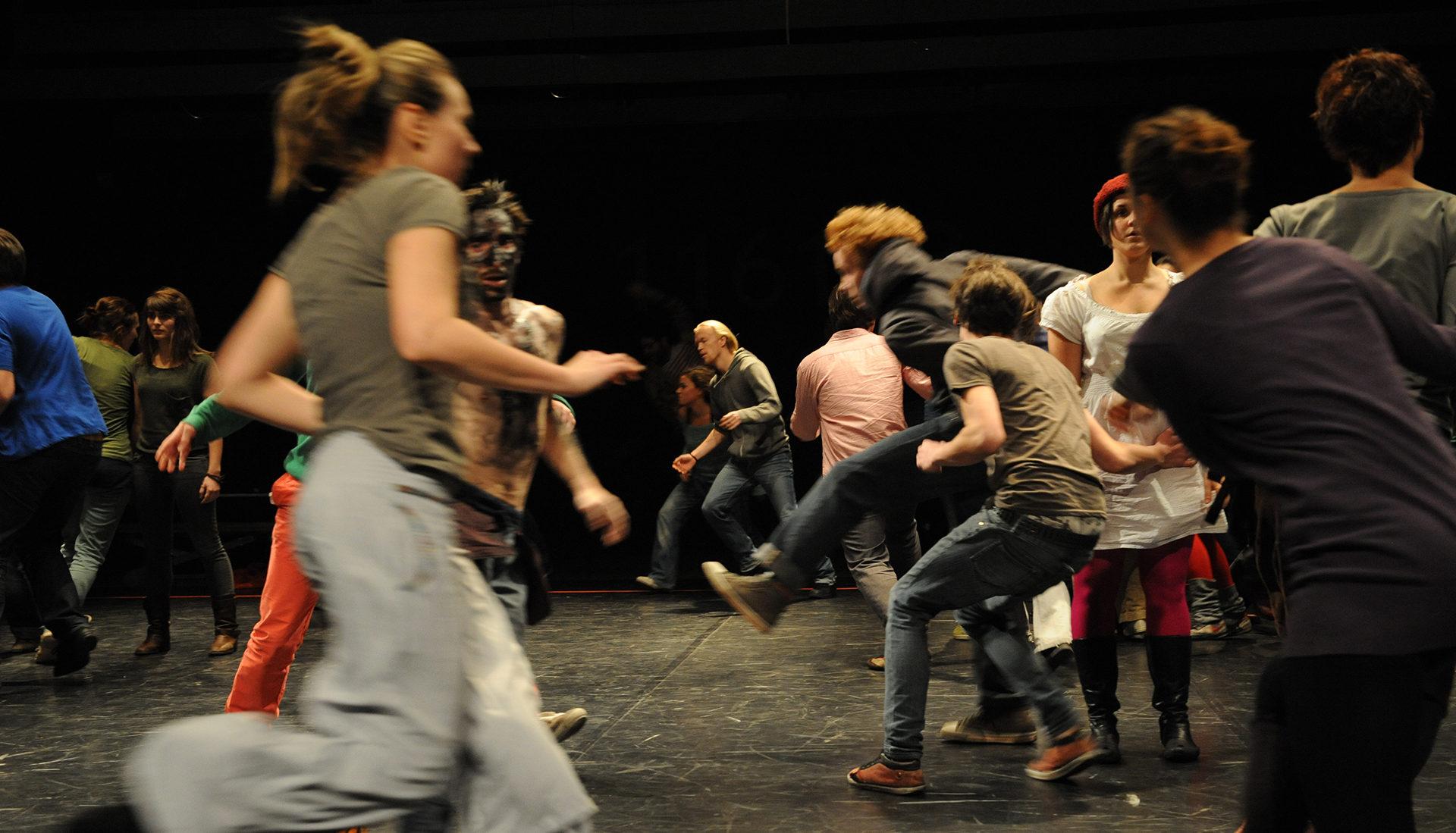 people running onstage