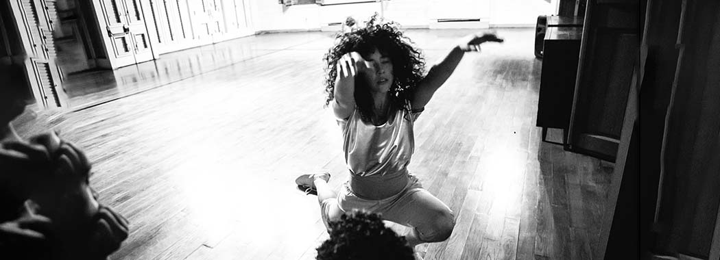 black and white photo of a person dancing