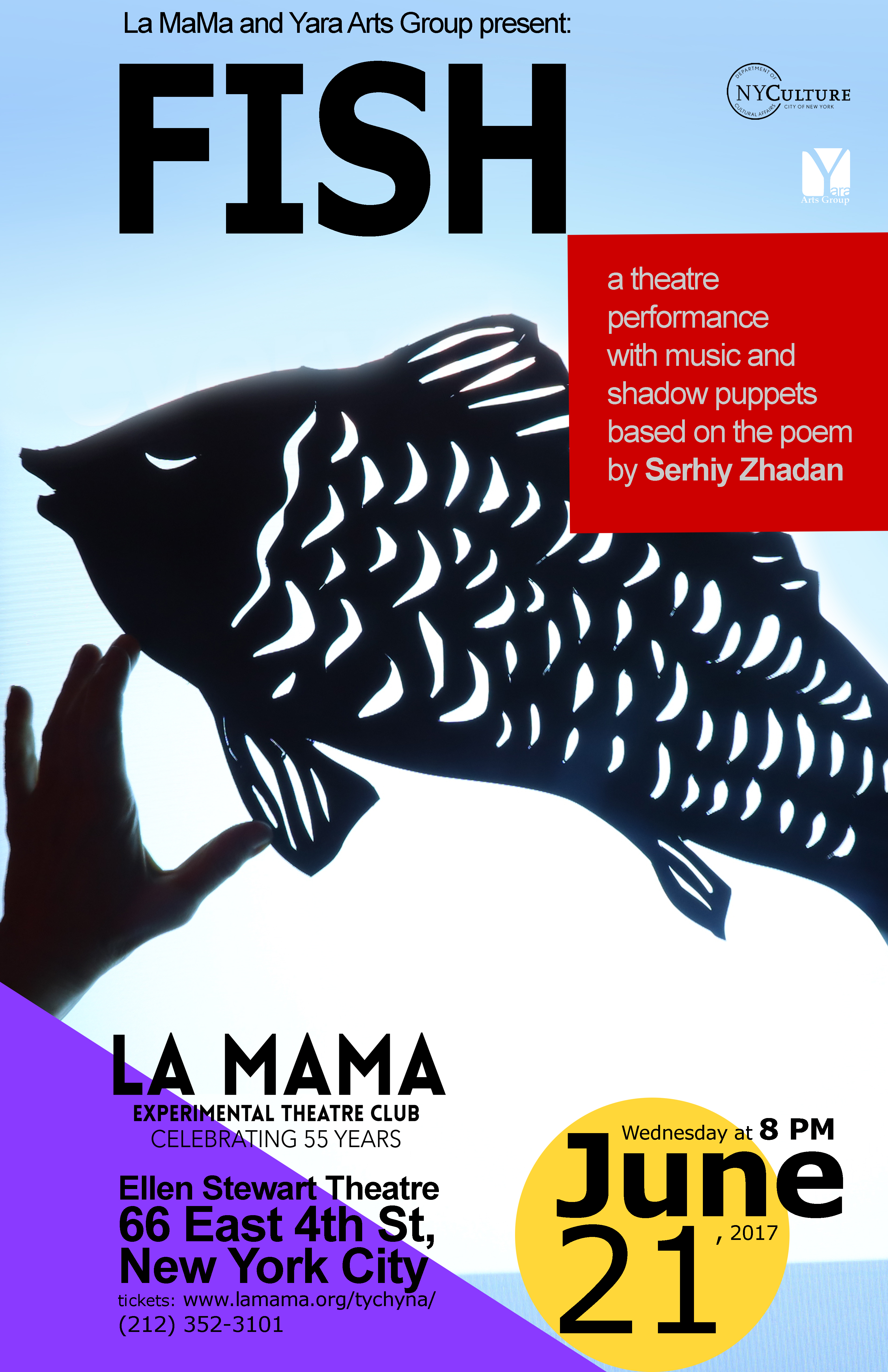 poster for fish with show information on it