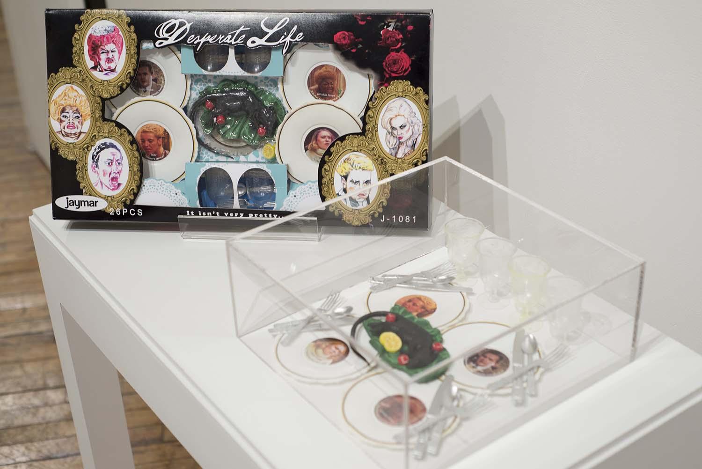 dish set in a glass case
