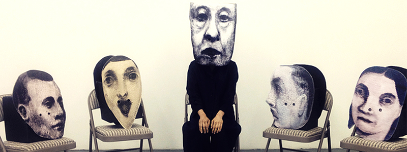 five drawings of heads sitting on chairs