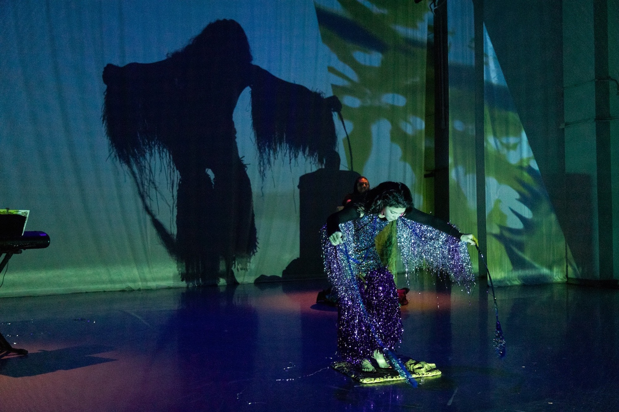 A performer with long dark hair is barefoot and wearing a costume with purple and silver sparkly fringe. They are slightly bent over and looking down. Their shadow is on the blue and green backdrop.