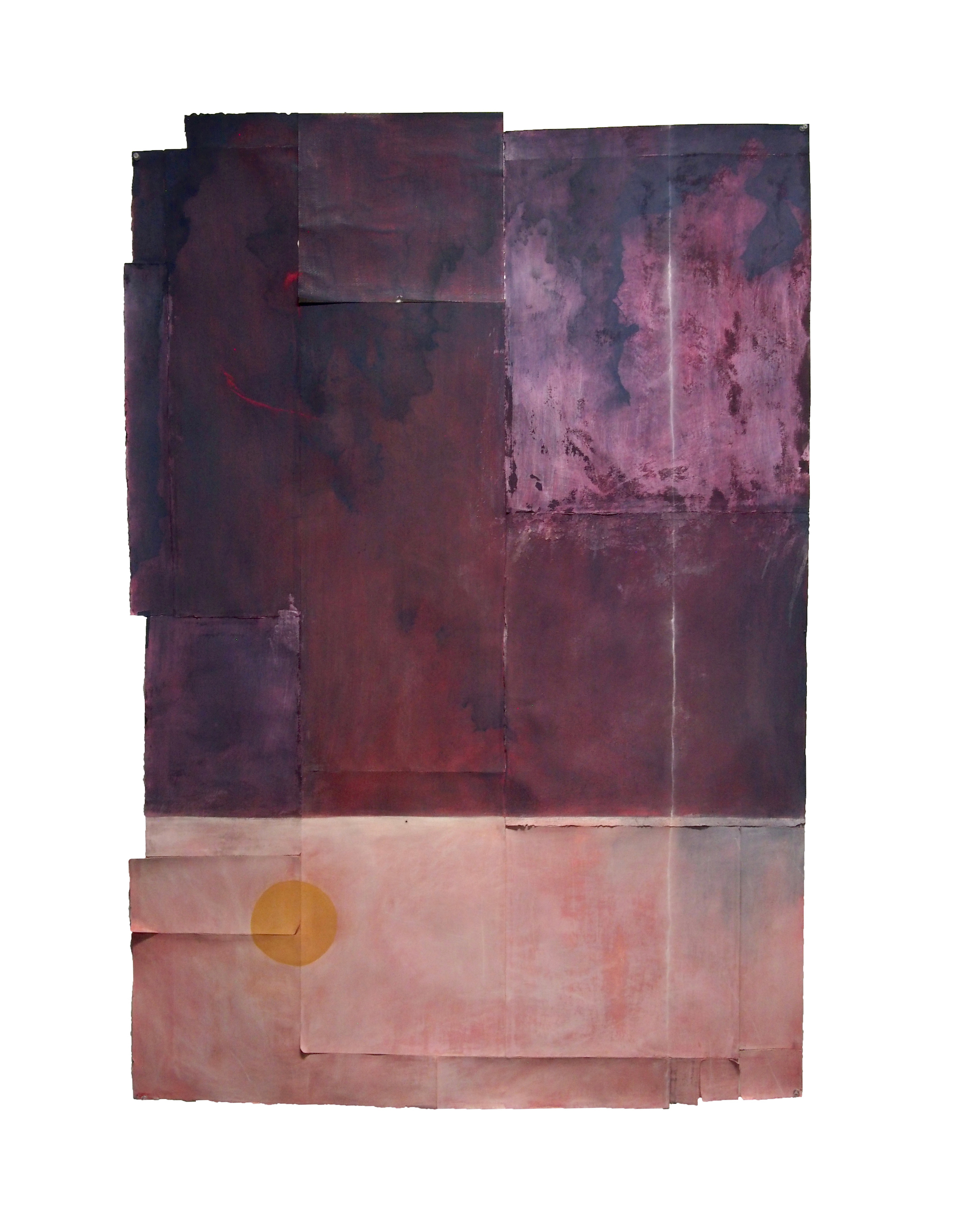Many sheets of paper of different sizes are assembled together as one, with the top two-thirds of the piece painted dark purple with some strokes of red and pink, and the bottom third painted light pink with an orange circle in the bottom left corner.