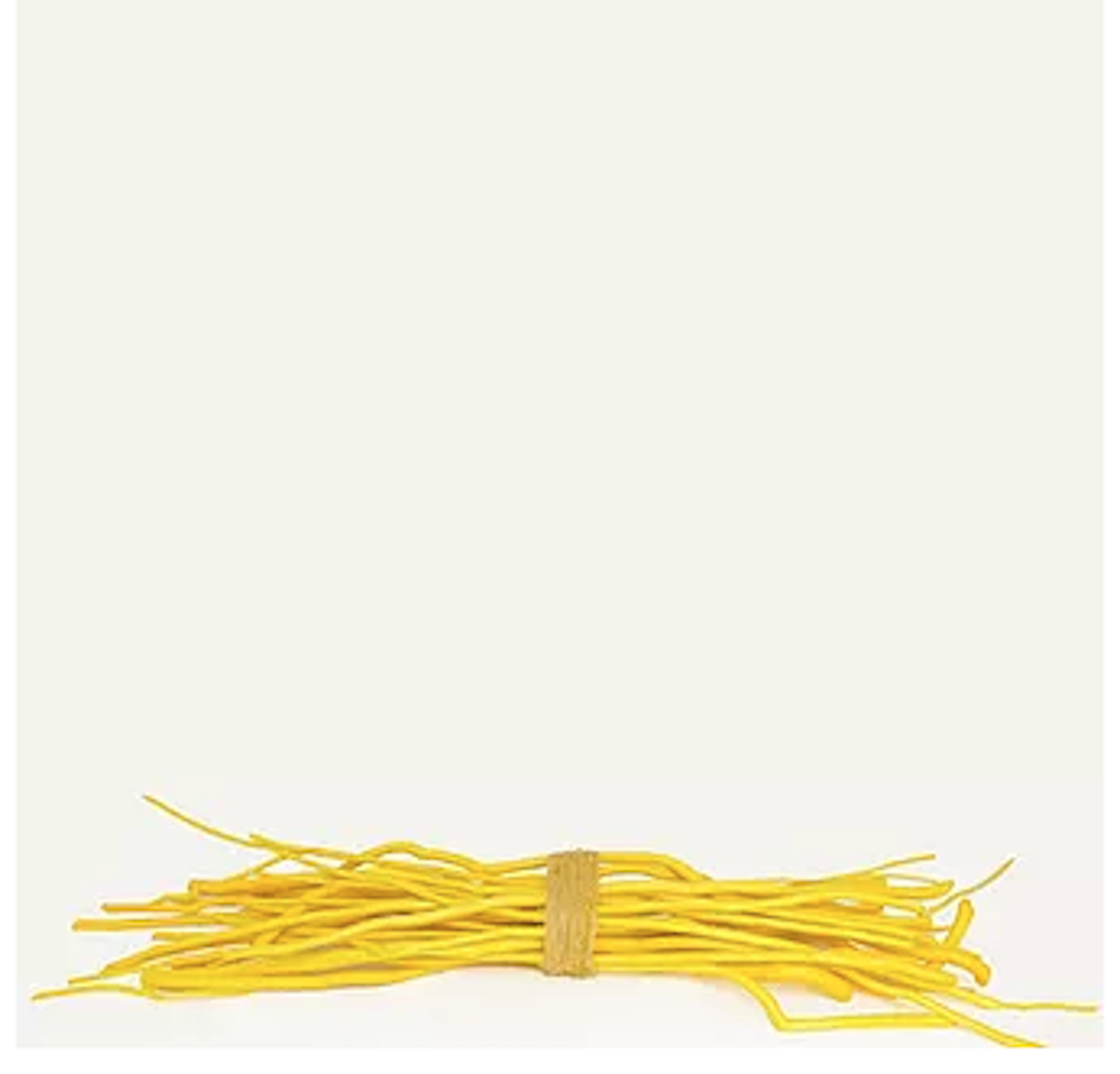 A white background and a bundle of sticks painted bright yellow and tied together