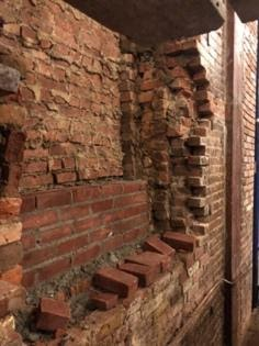 A close up picture of the renovation progress of the La Mama building