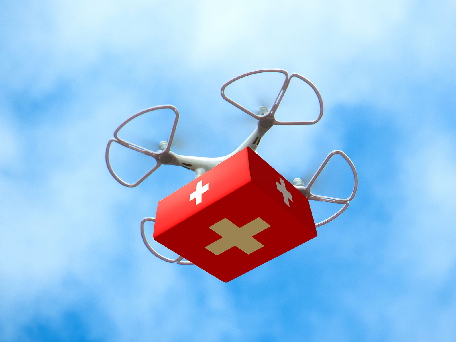 Picture of a drone carrying medical supplies