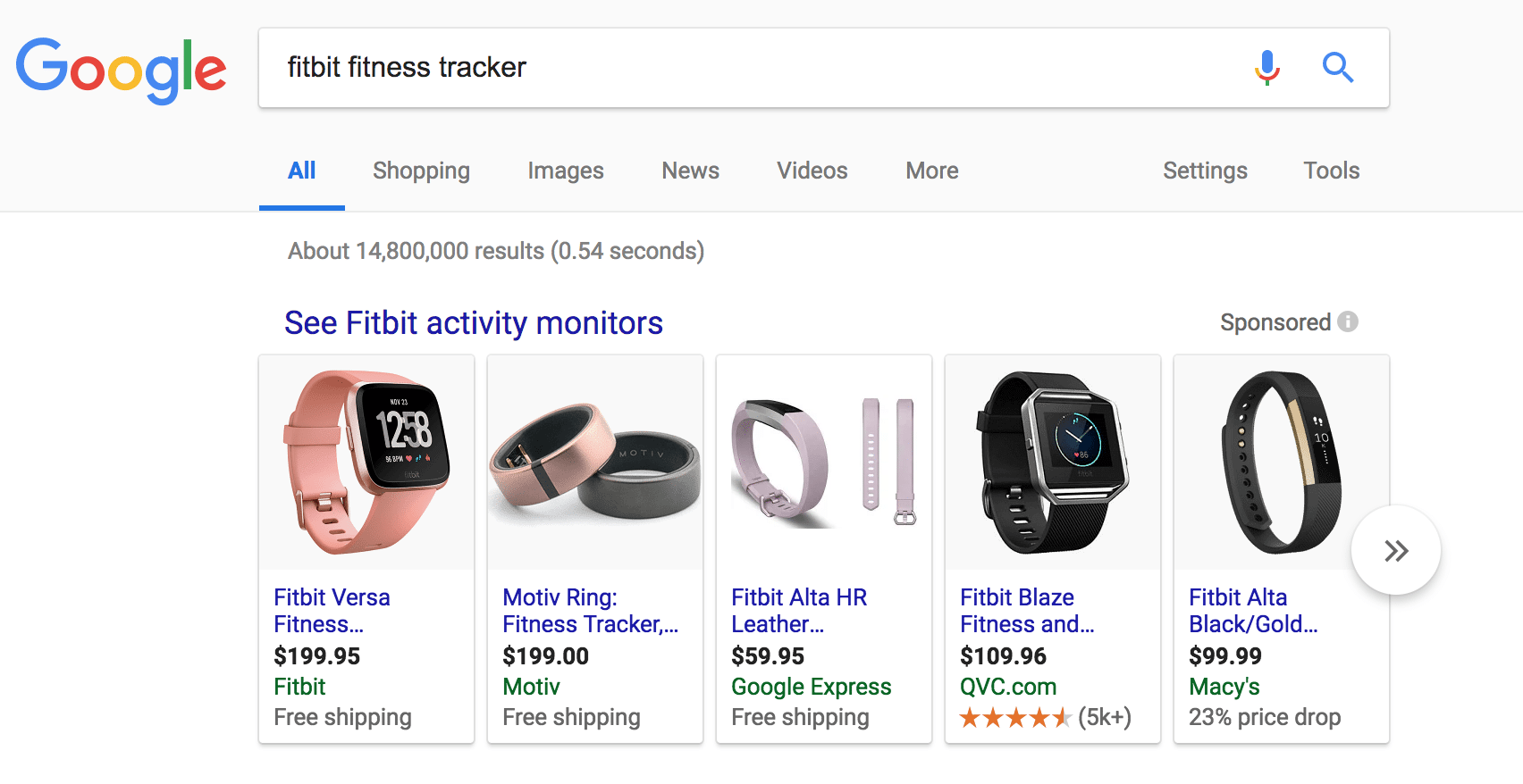 google shopping ad for fitbits