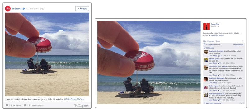 Coca Cola Instagram Ad vs. Facebook Ad