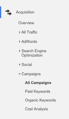 Acquisition Tab in Google Analytics