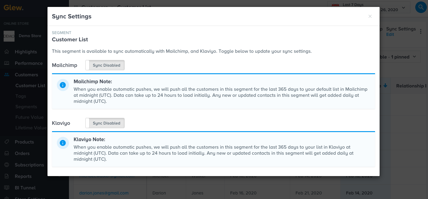 Enabling segment sync for Mailchimp or Klaivyo in Glew.io