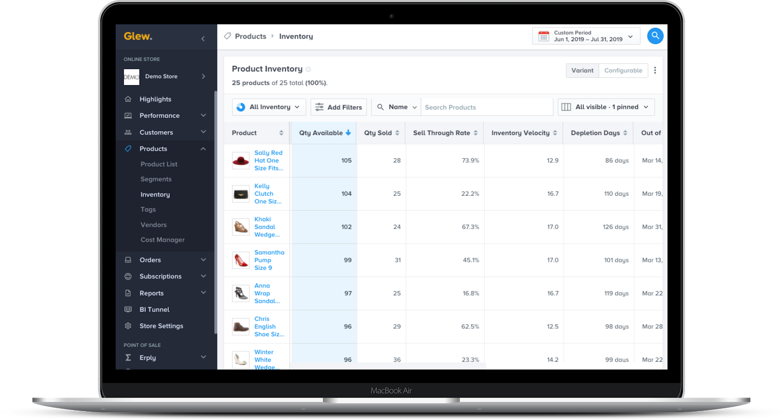 See it in Glew: Glew's inventory reporting, allowing you to track sell through rate, inventory velocity, depletion days, out of stock date and more for all your products