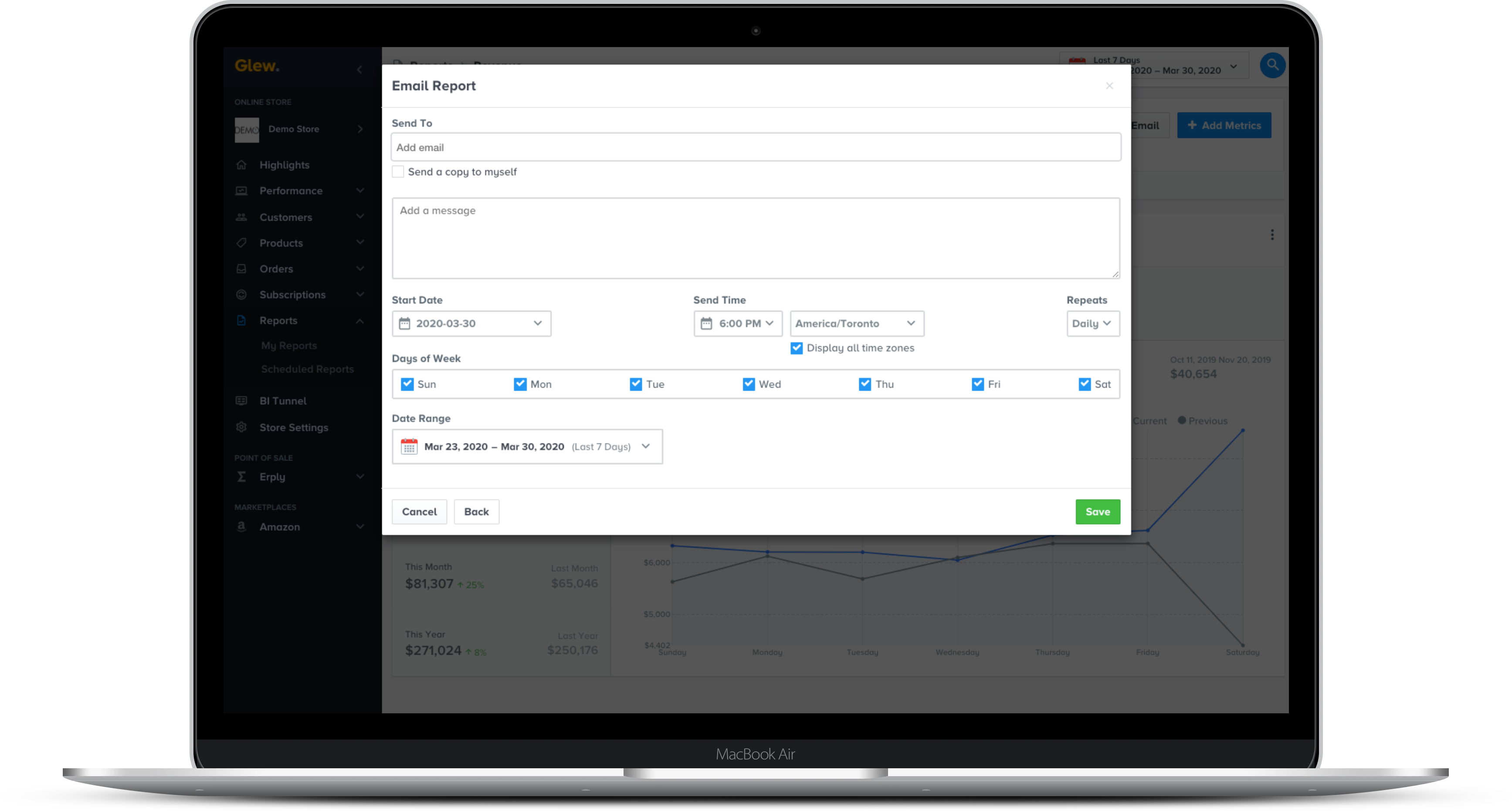 Glew lets you create reports using any metric, visualization or filter and schedule it to send to anyone inside or outside of your organization daily, weekly or monthly