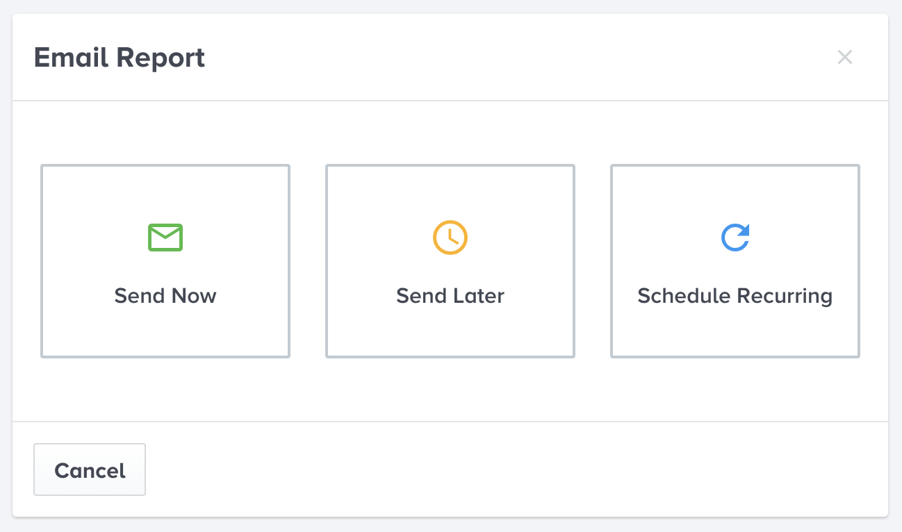 Schedule and share reports anytime, with anyone.