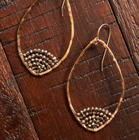 Caviar Dipped Leaf Hoops