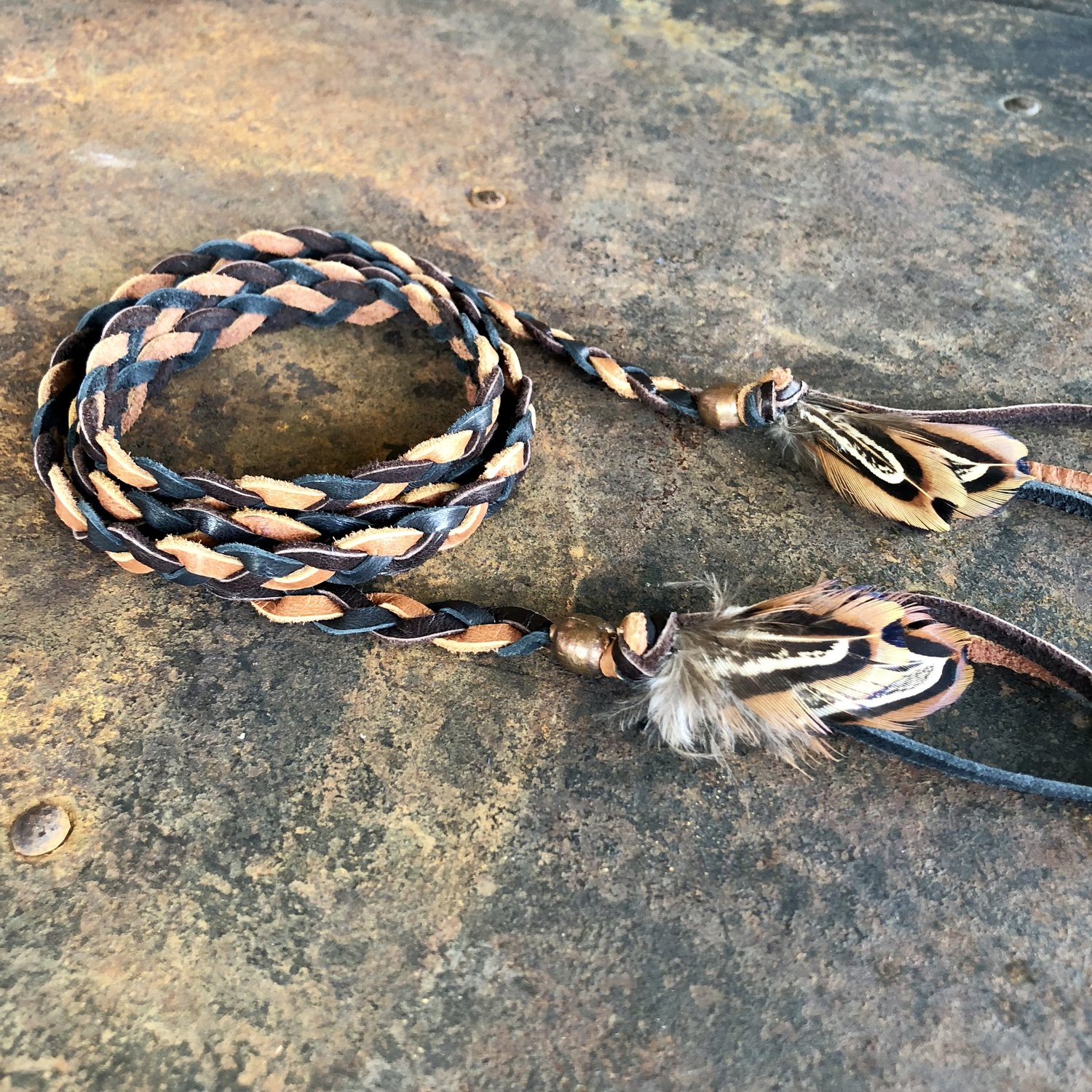 Leather Wrap Accessory - Brown Mix