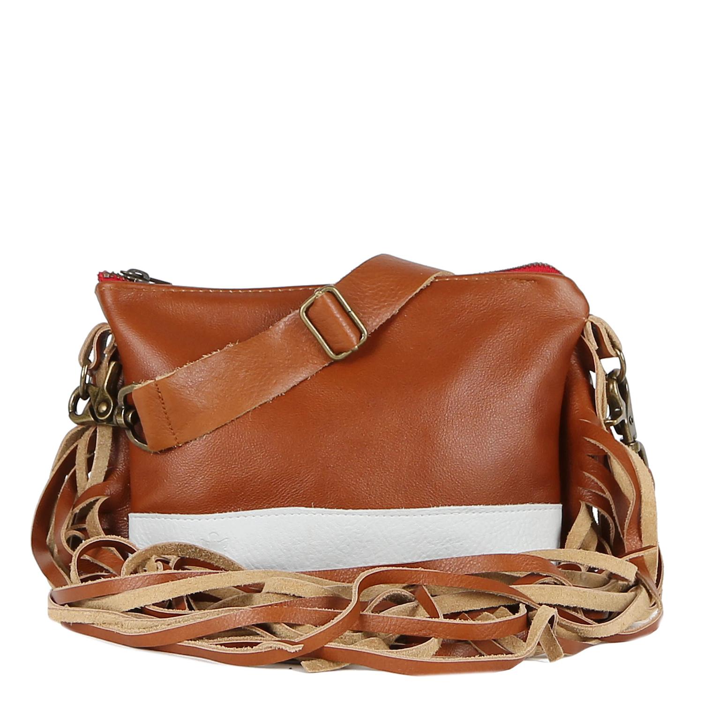 Mini Jacinda Side Fringe Messenger in Brown Leather with White Bottom