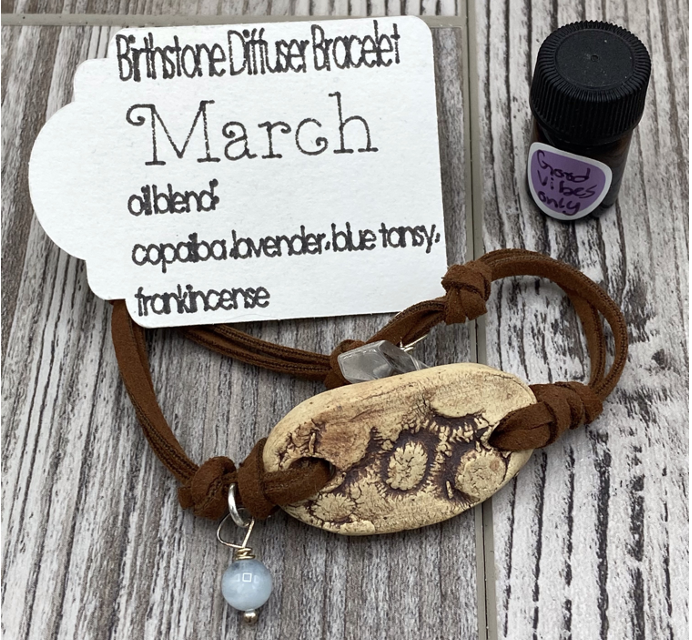 Birthstone Essential Oil Diffuser Bracelet - March