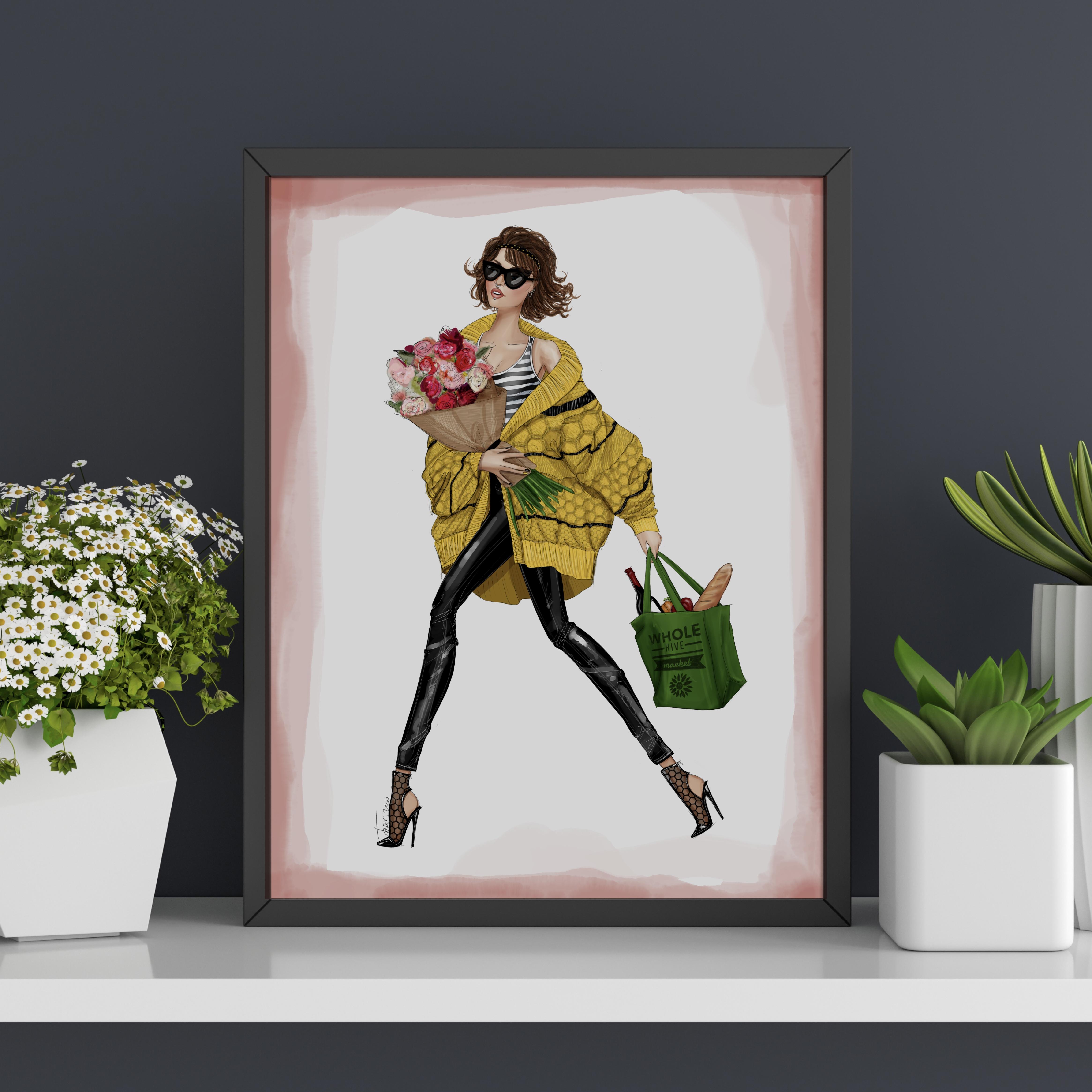 "Fashion Illustration Art Print: POSH Girls ""Beautiful"""