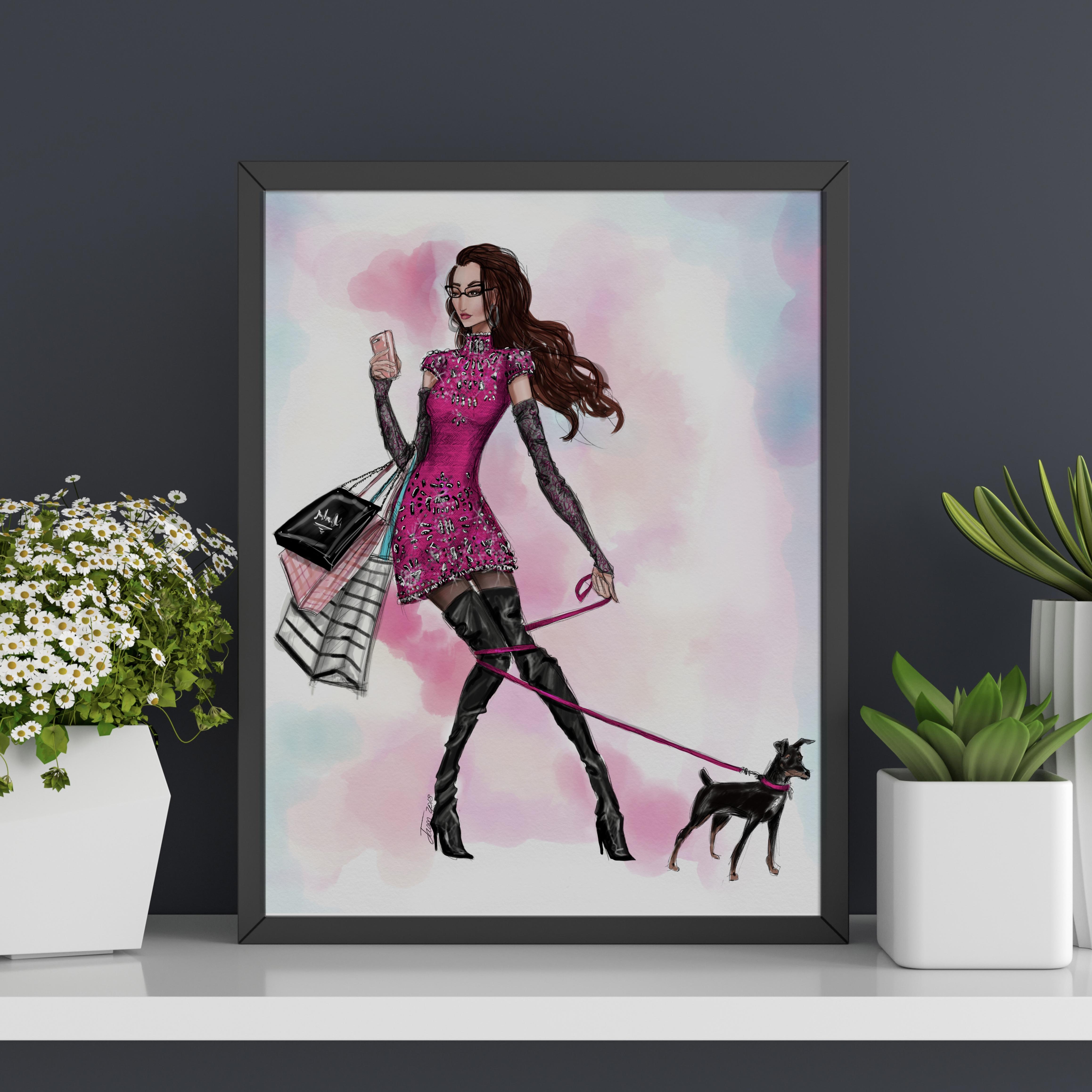 "Fashion Illustration Art Print POSH Girls ""Hot Mess"" version 2"