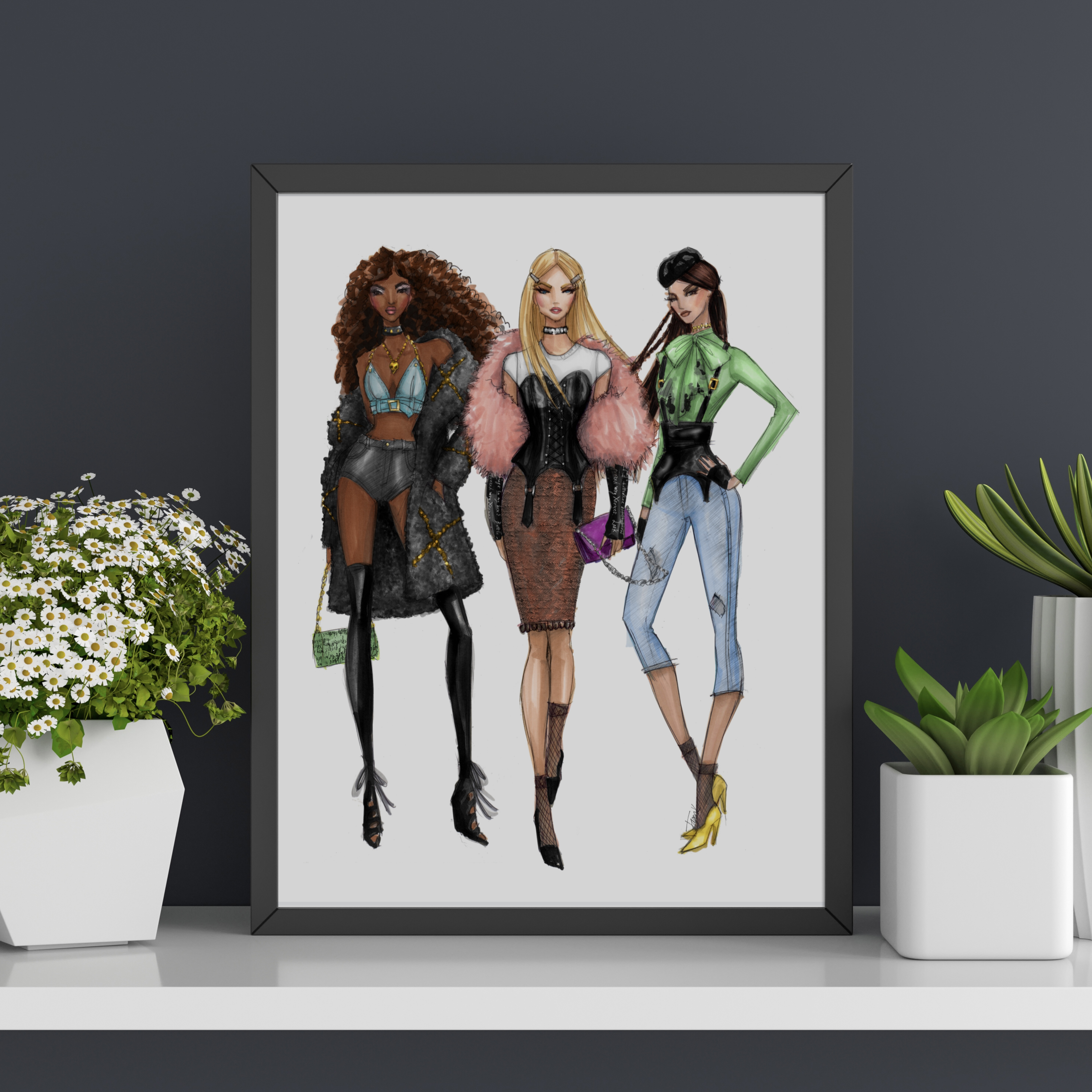 Fashion Illustration IT GIRL Art Print Reckless TRIO